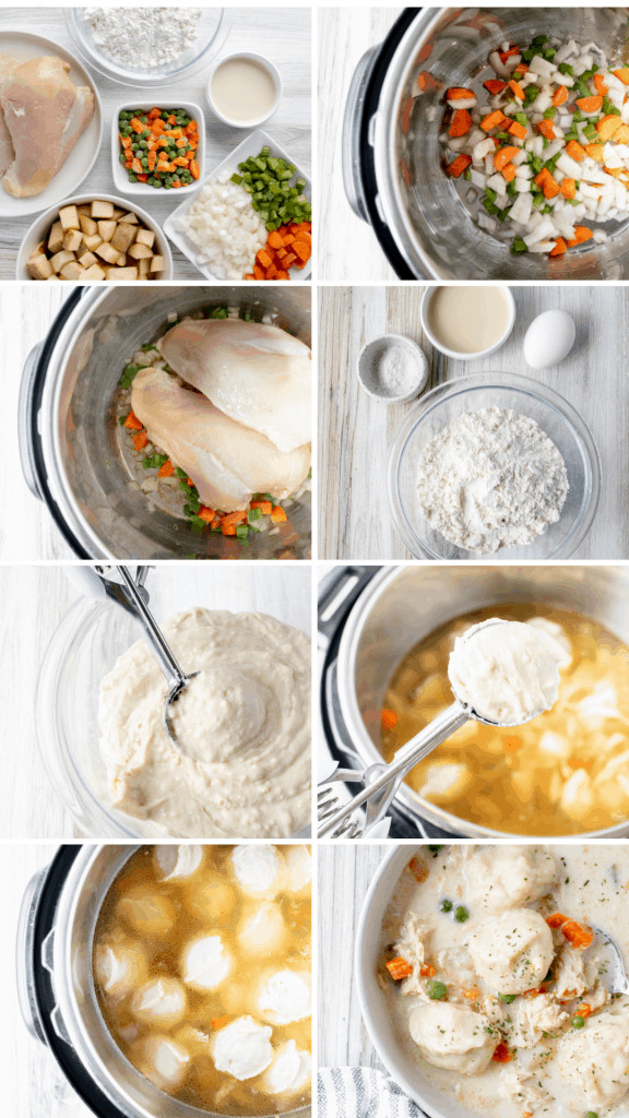 step by step pictures of how to make gluten free chicken and dumplings. first gather ingredients, next saute mirepoix, add chicken potatoes and water, gather dumpling ingrdients, mix and scoop dumpling batter into soup, simmer dumplings, and serve.